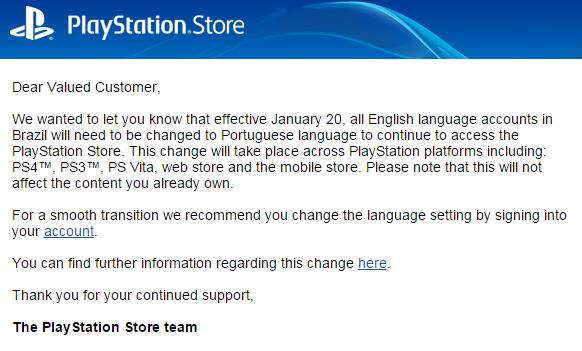 Sony pede que brasileiros acessem a PSN Store apenas em português